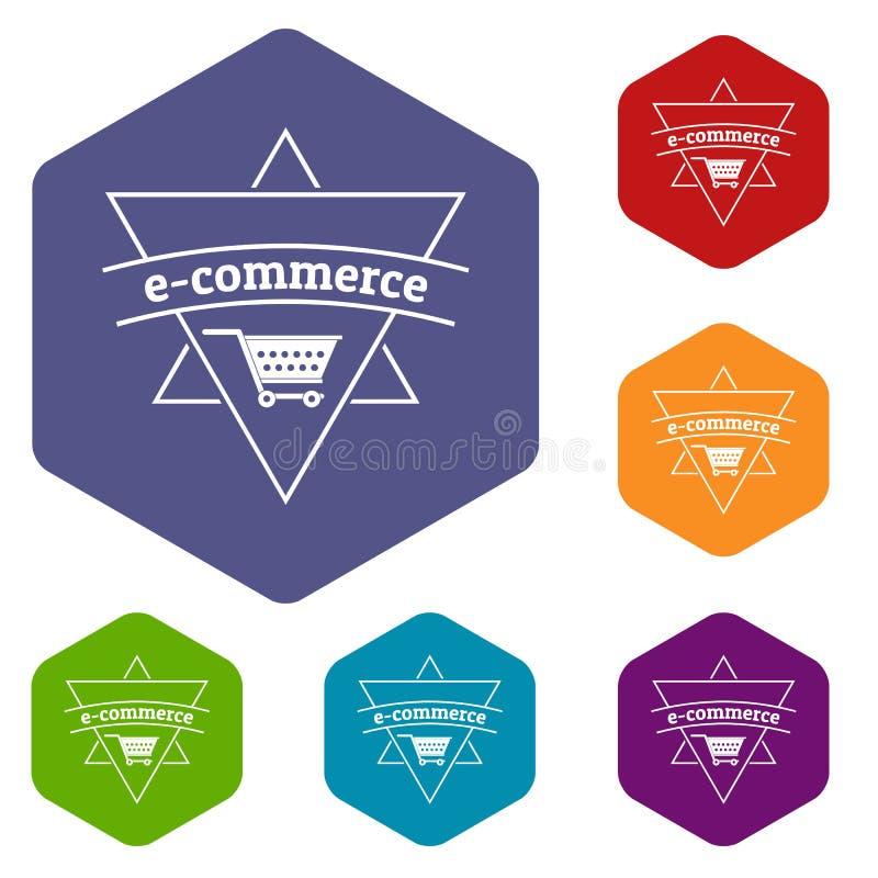 Hexahedron di vettore delle icone del negozio di commercio elettronico illustrazione vettoriale