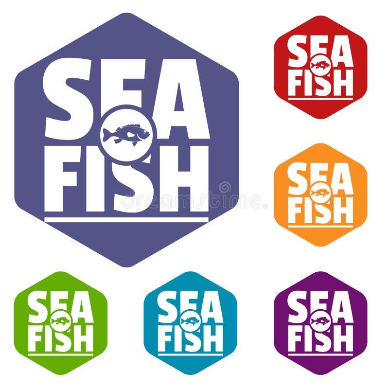 Hexahedron di vettore delle icone del negozio del pesce di mare illustrazione vettoriale