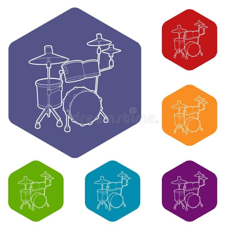 Hexahedron di vettore delle icone del tamburo illustrazione vettoriale