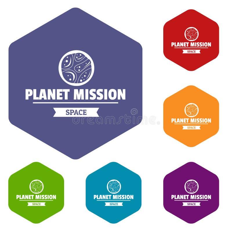 Hexahedron di vettore delle icone di missione spaziale illustrazione vettoriale