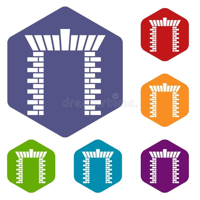 Hexahedron do vetor dos ícones da porta do bloco ilustração royalty free