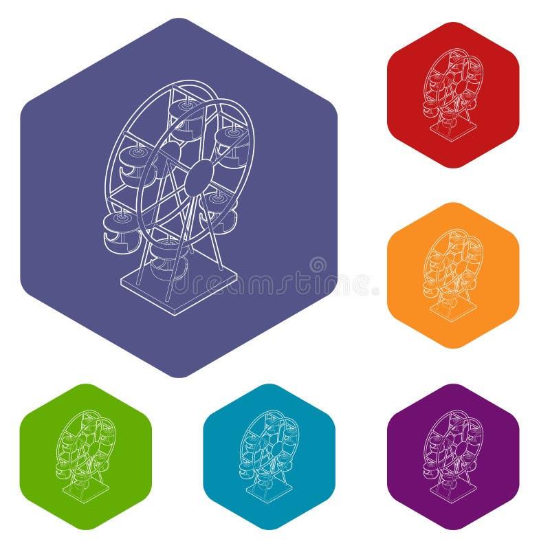 Hexahedron do vetor dos ícones da roda de Ferris ilustração royalty free