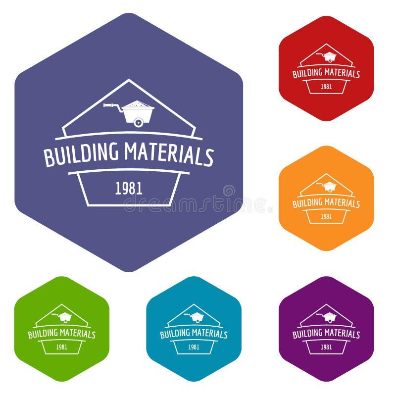 Hexahedron do vetor dos ícones dos materiais de construção ilustração do vetor