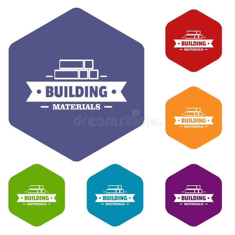 Hexahedron do vetor dos ícones dos materiais de construção ilustração stock