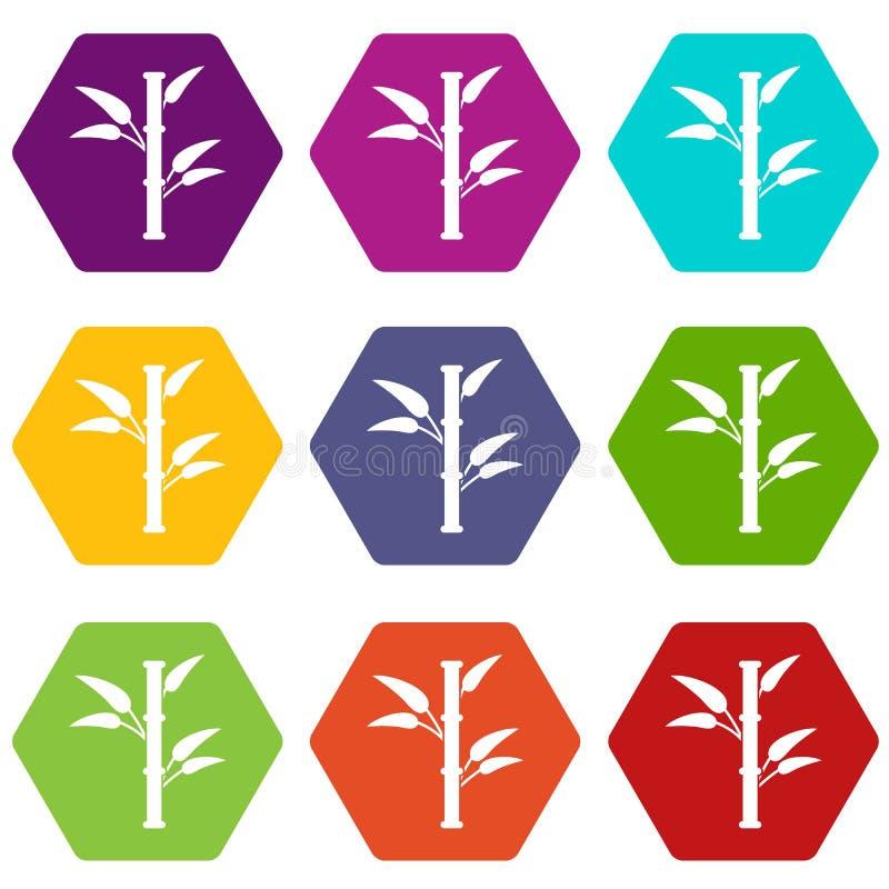 Hexahedron för färg för bambusymbolsuppsättning royaltyfri illustrationer
