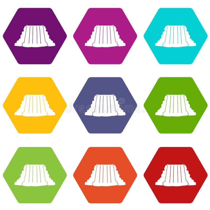 Hexahedron för färg för Niagara Falls symbolsuppsättning stock illustrationer