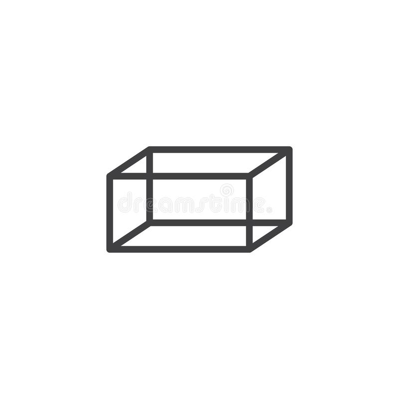 Hexahedron geometrical figure outline icon. Linear style sign for mobile concept and web design. Hexahedron geometric shape simple line vector icon. Symbol royalty free illustration