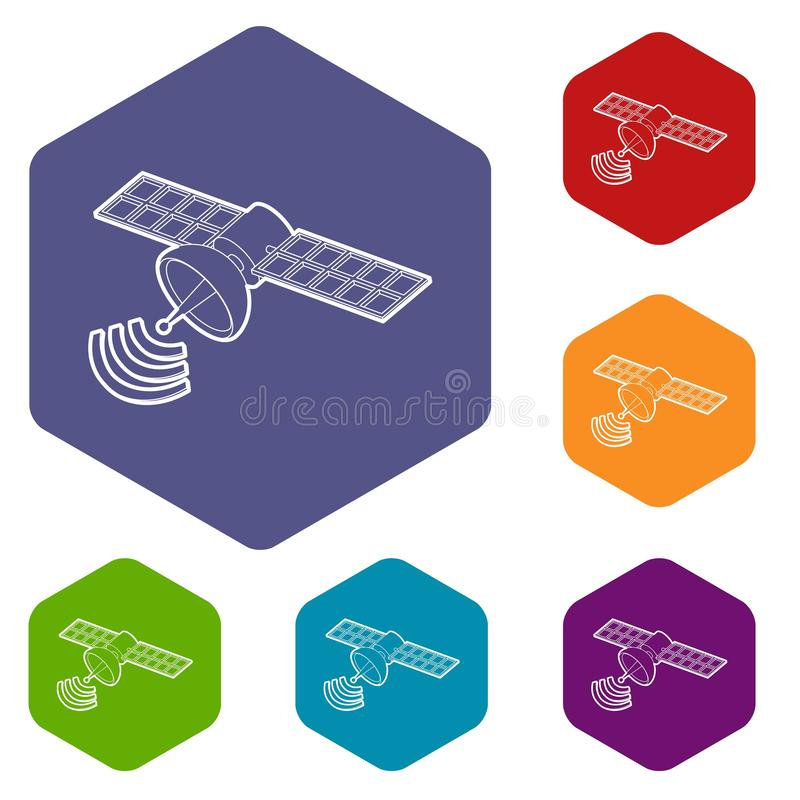 Hexahedron por satélite del vector de los iconos del espacio stock de ilustración