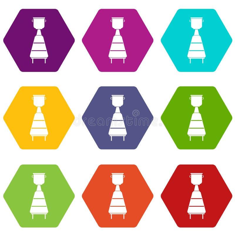 Hexahedron réglé de couleur d'icône d'équipement de distillerie de vin illustration libre de droits