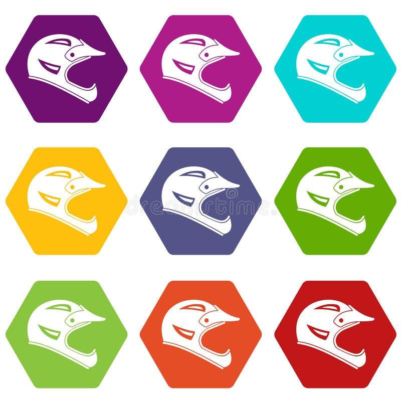 Hexahedron réglé de couleur d'icône de casque de bicyclette illustration libre de droits