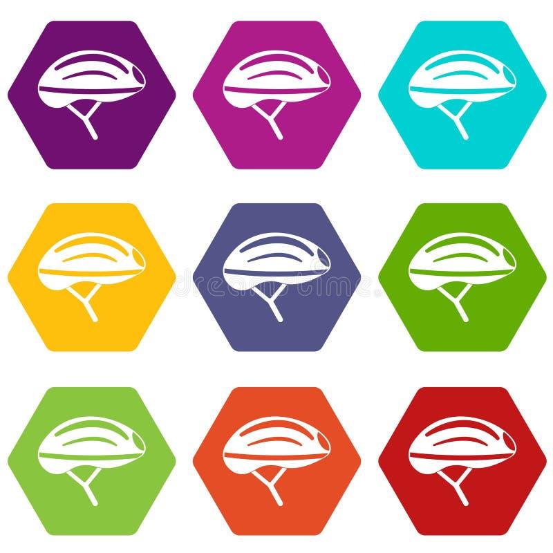 Hexahedron réglé de couleur d'icône de casque de bicyclette illustration stock