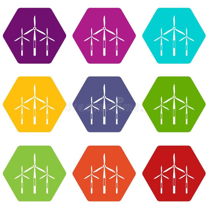 Hexahedron réglé de couleur d'icône de turbines de générateur de vent illustration stock