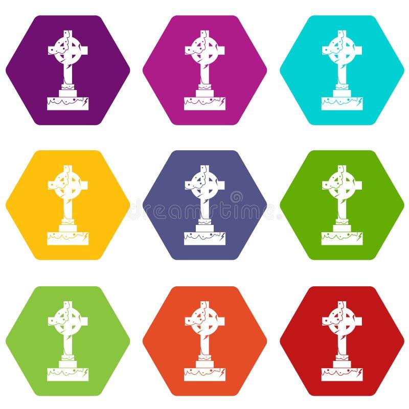 Hexahedron réglé de couleur d'icône irlandaise de croix celtique illustration stock