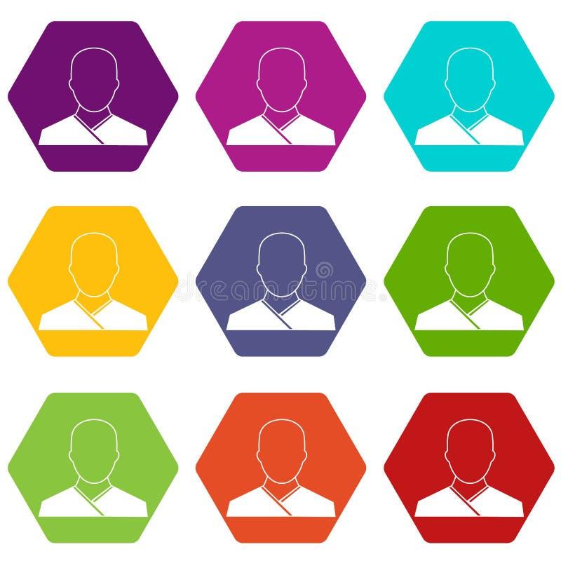 Hexahedron stabilito di colore dell'icona del monaco buddista illustrazione di stock
