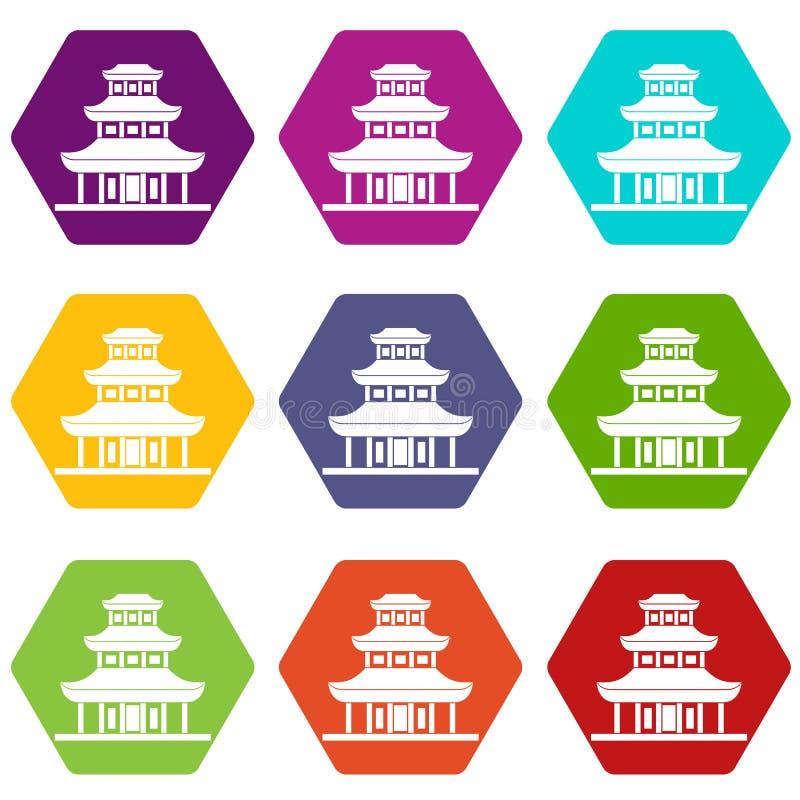 Hexahedron stabilito di colore dell'icona del tempio buddista illustrazione di stock