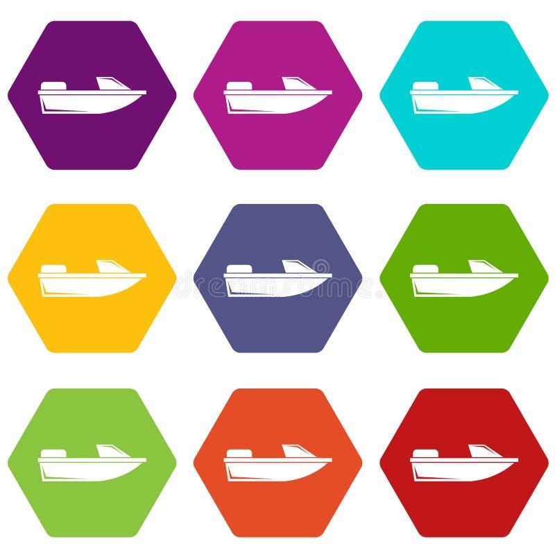 Hexahedron stabilito di colore dell'icona di fuoribordo di sport royalty illustrazione gratis
