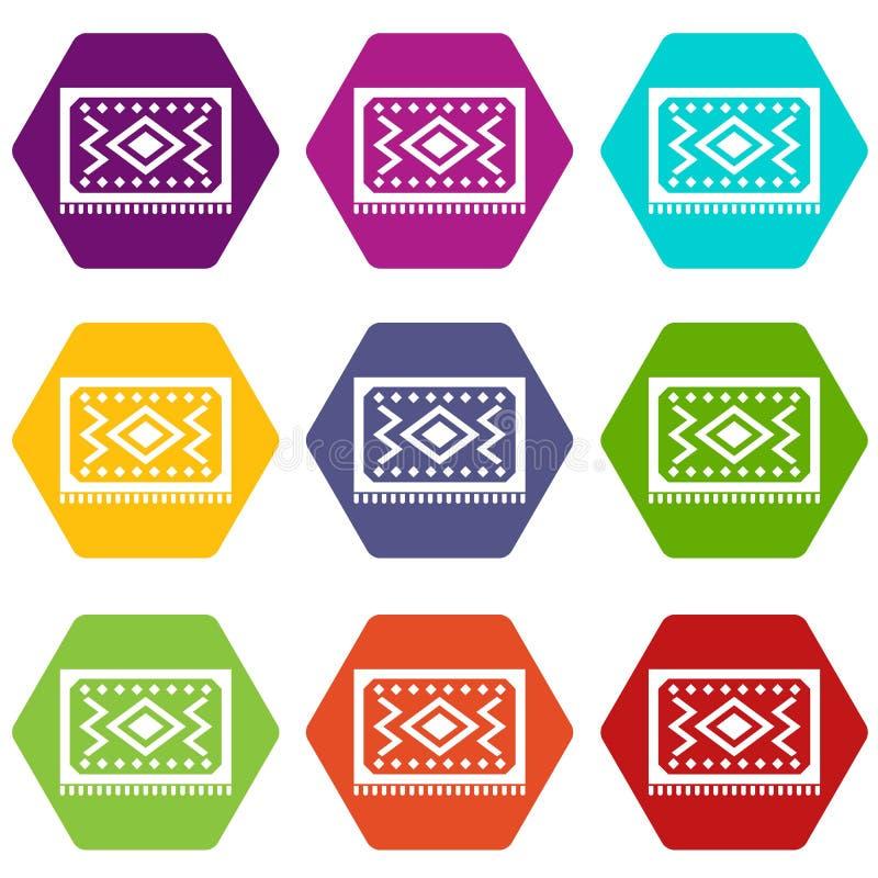 Hexahedron stabilito di colore dell'icona turca del tappeto illustrazione di stock