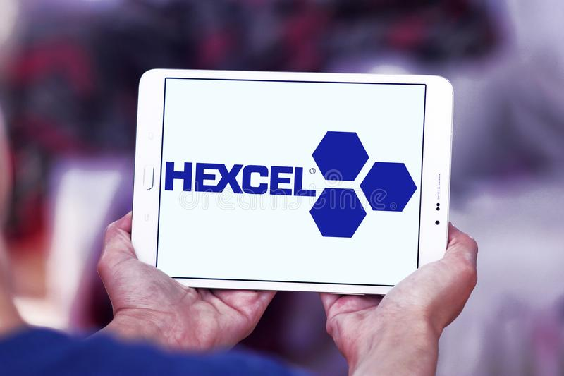 Hexcel Corporation logo. Logo of Hexcel Corporation on samsung tablet. Hexcel is a public company that produces advanced composite materials engineering stock photo