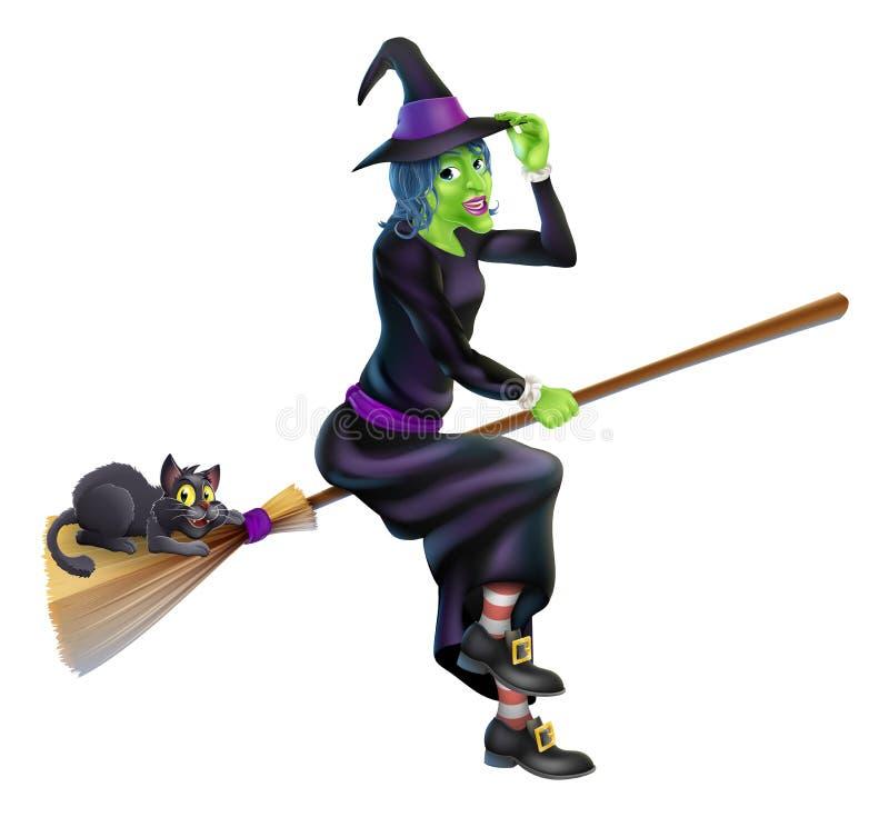 Hexe auf Besen mit schwarzer Katze vektor abbildung