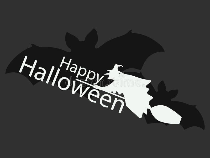 Hexe auf Besenstiel glückliches Halloween vektor abbildung