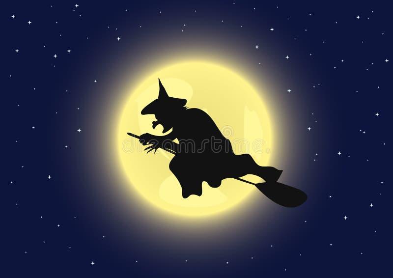 Hexe auf Broomstick stock abbildung