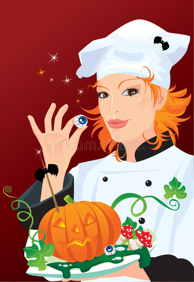 Hexe - Chef, der für Halloween-Party kocht vektor abbildung
