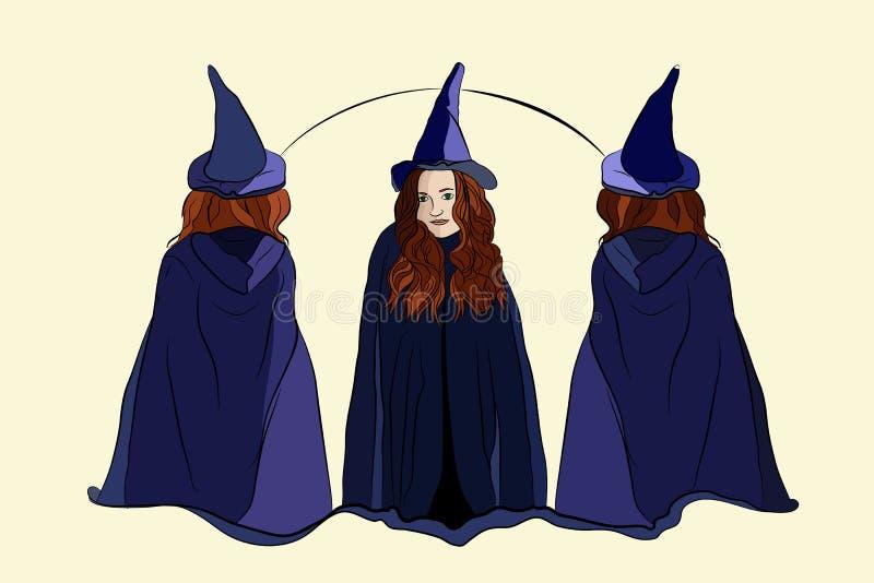 Hexe Halloween drei Hexen vektor abbildung