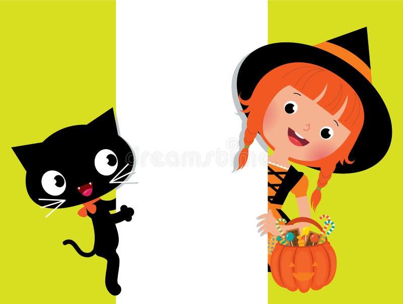 Hexe Halloween, ihre Katze und eine weiße Fahne lizenzfreie abbildung