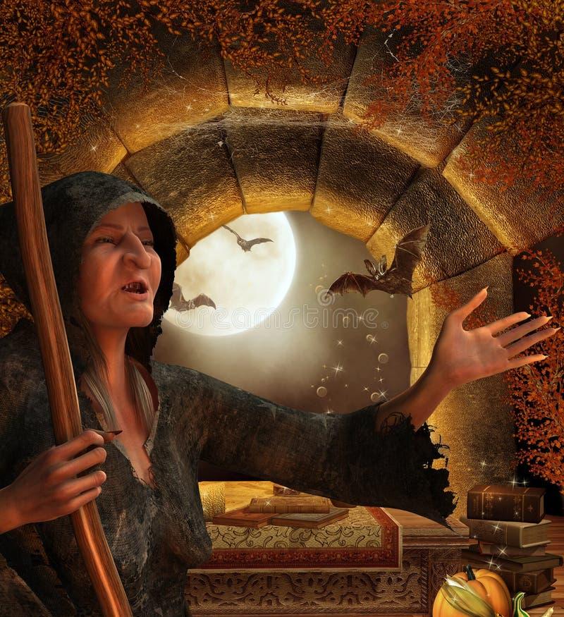 Hexe in ihrer Hütte lizenzfreies stockfoto