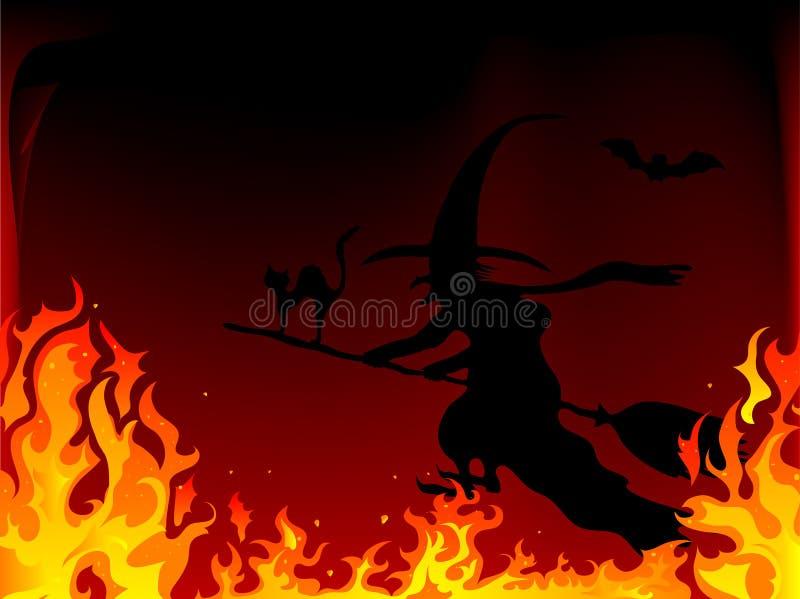 Hexe im Feuer vektor abbildung