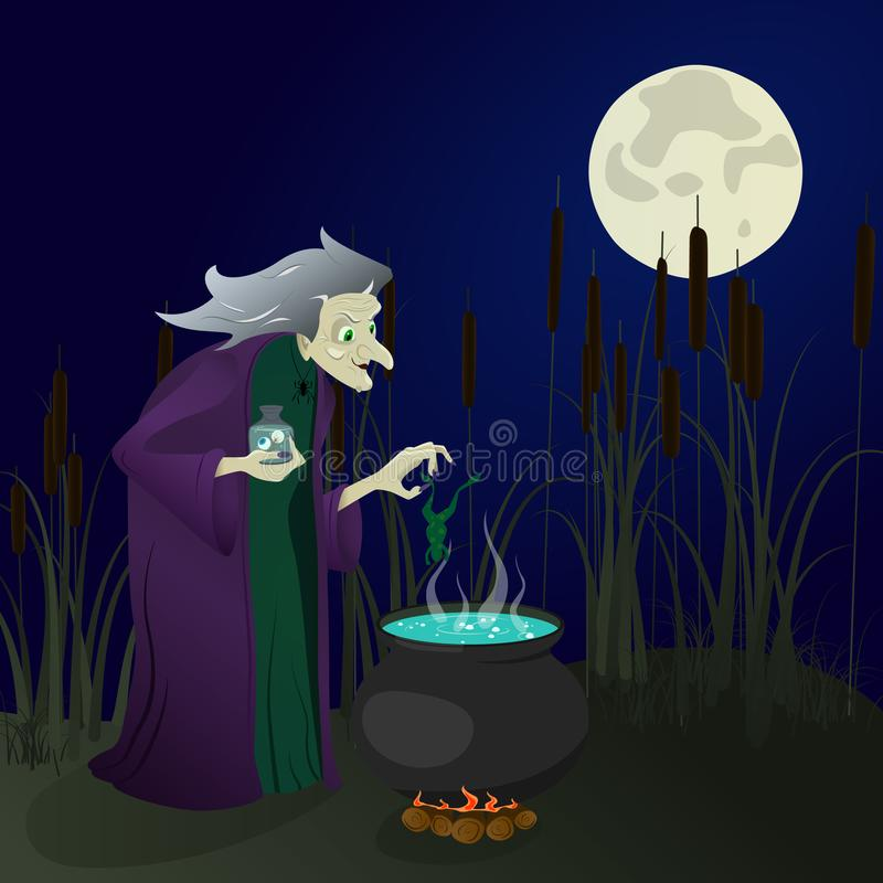 Hexe im Sumpf braut Tränke Halloween lizenzfreie abbildung