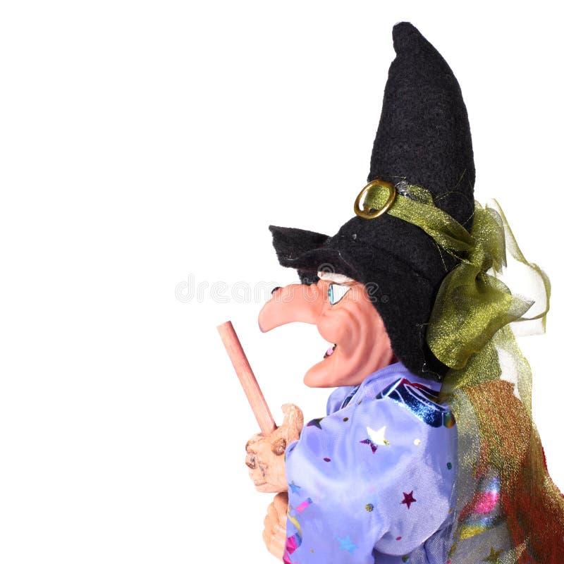 Hexe mit Besen stockbild