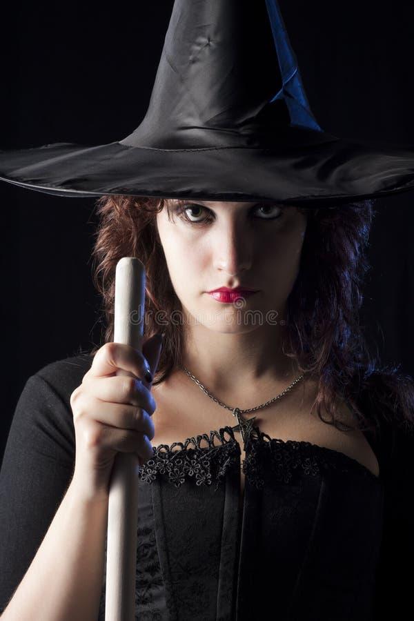 Hexe mit Besen stockfoto
