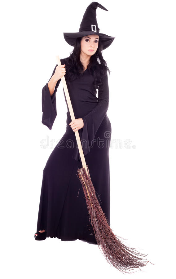 Hexe mit einem Besen lizenzfreie stockfotos