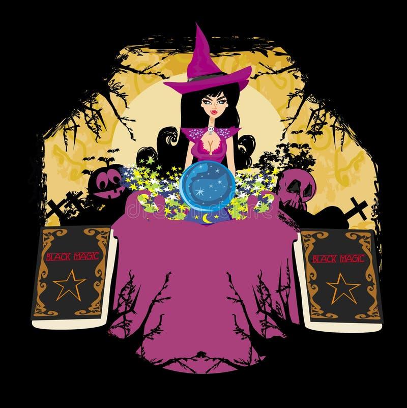 Hexe mit Glaskugel - abstrakter Rahmen für Halloween lizenzfreie abbildung