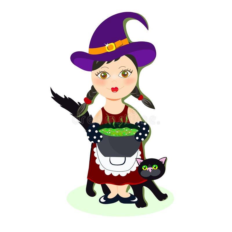 Hexe mit ihrer schwarzen Katze, die Trank zubereitet vektor abbildung