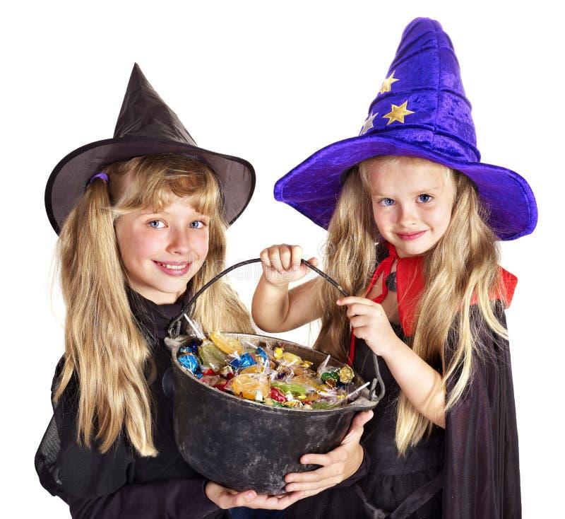 Hexe mit Trick oder Festlichkeit. stockbild