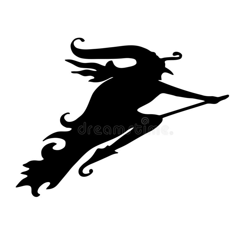 hexe Schattenbild eines Frauenfliegens auf einem Besen Halloween-elemen stock abbildung