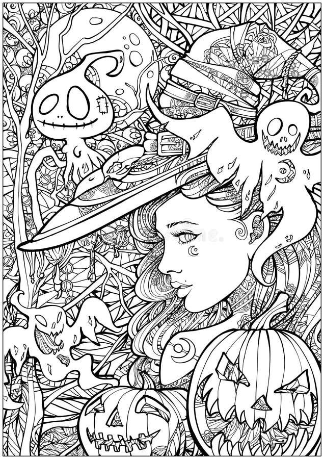 Hexe umgeben durch freundliche Geister lizenzfreie abbildung