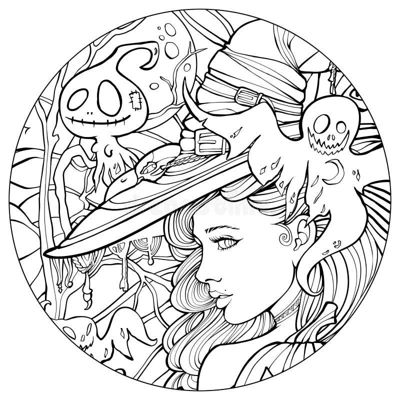 Hexe umgeben durch freundliche Geister stock abbildung
