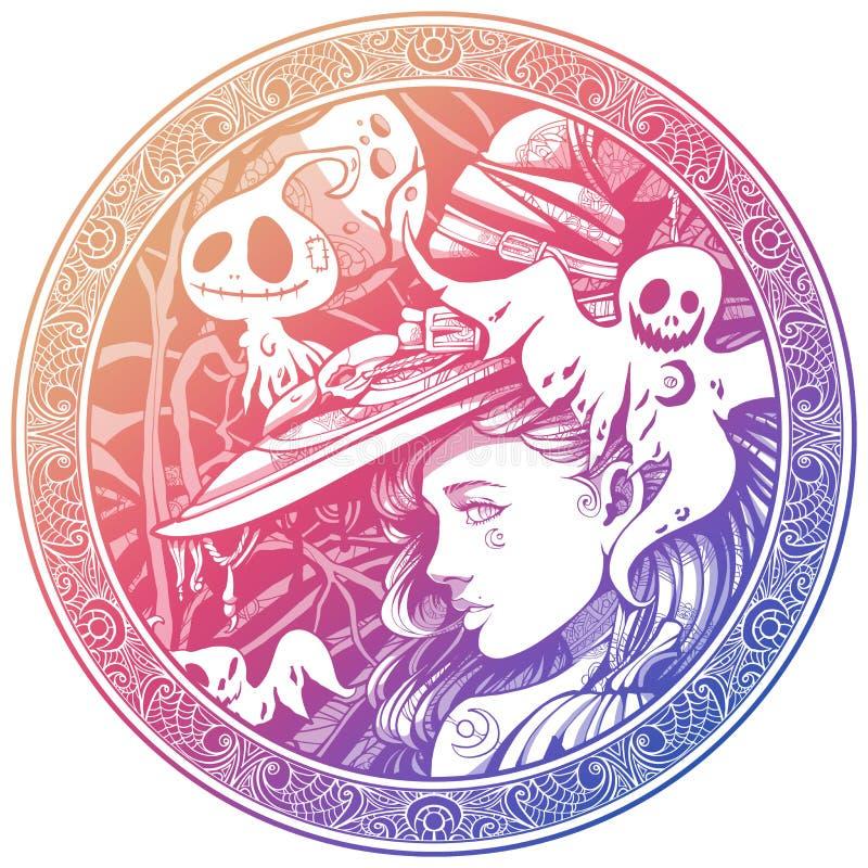 Hexe umgeben durch freundliche Geister vektor abbildung