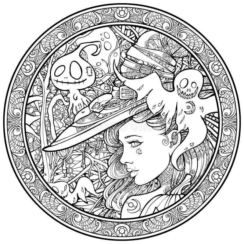 Hexe umgeben durch freundlichen Geister ornametn Rahmen lizenzfreie abbildung