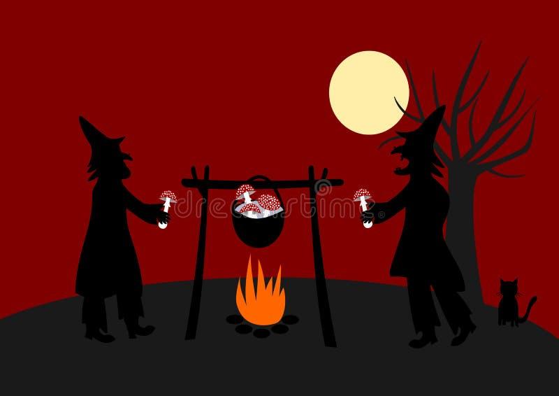 Hexen, die magischen Nostrum vorbereiten stock abbildung