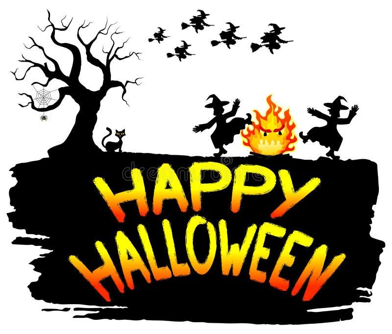 Hexen, die um das Feuer bei Halloween tanzen lizenzfreie abbildung