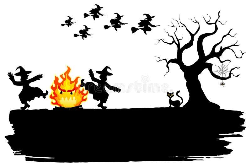 Hexen, die um das Feuer bei Halloween tanzen vektor abbildung