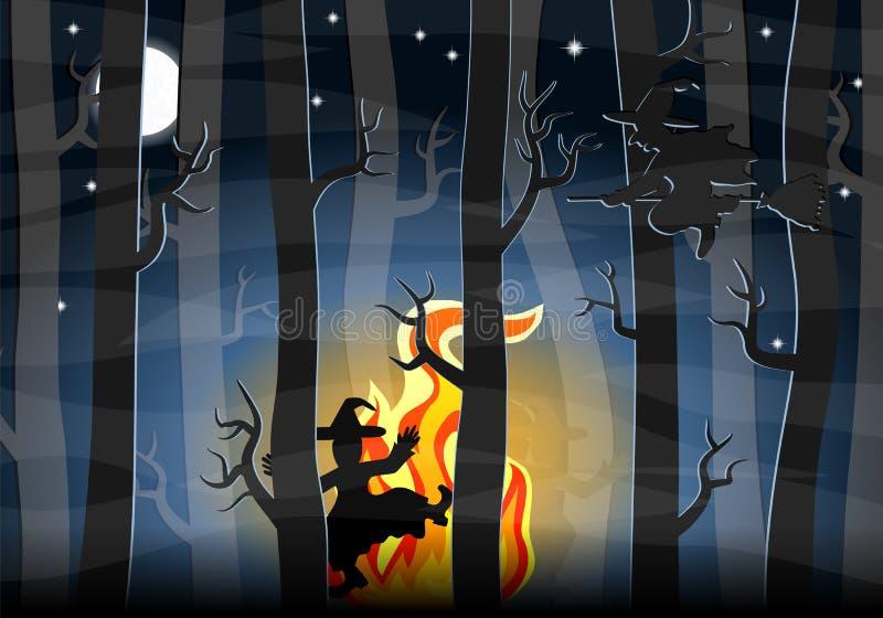 Hexen, die um ein Feuer nachts tanzen lizenzfreie abbildung