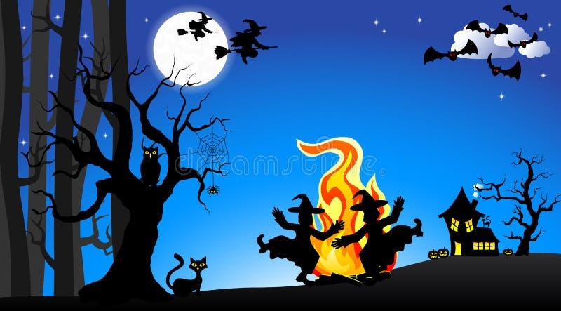 Hexen, die um Feuer bei Halloween tanzen lizenzfreie abbildung