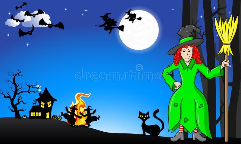 Hexen, die um Feuer bei Halloween tanzen vektor abbildung
