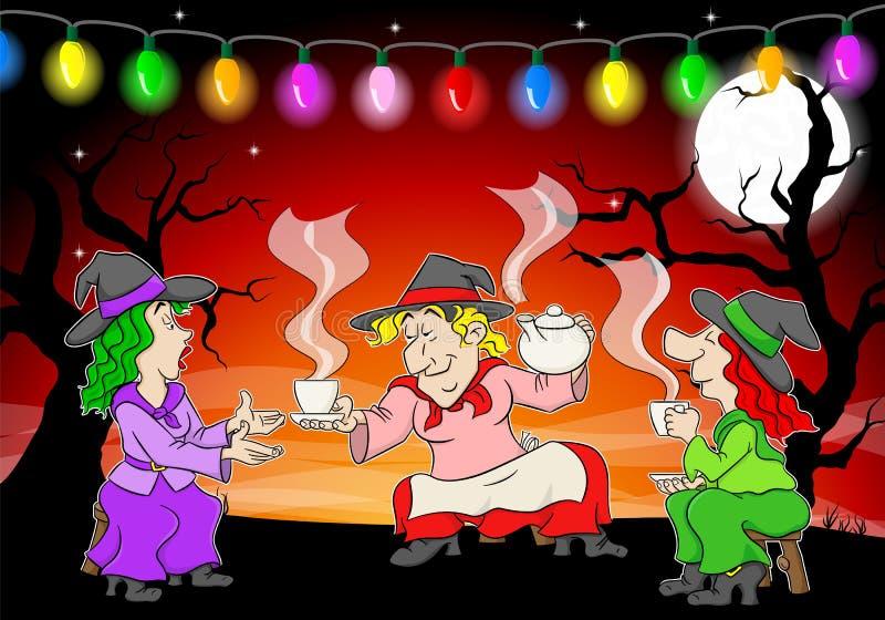 Hexen feiern eine Halloween-Partei mit Zaubertrank stock abbildung