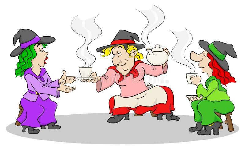 Hexen feiern eine Halloween-Partei mit Zaubertrank lizenzfreie abbildung